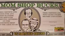 $20 denomination MOM SHOP BUCKS